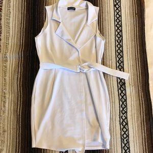white business suit dress belted waist mini dress